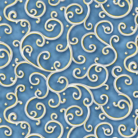 Quilting Treasures All is Calm Scroll 25872B Blue