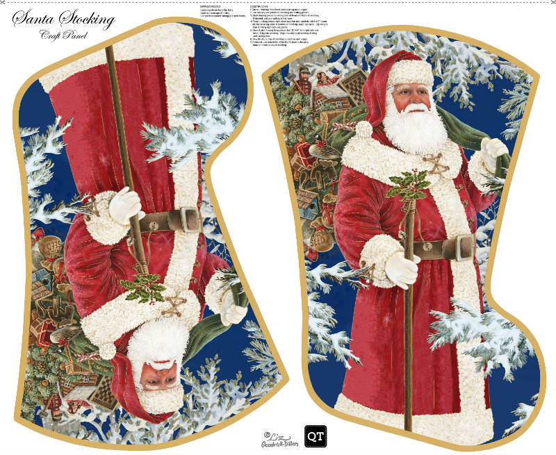 Quilting Treasures Sew & Go Santa Stocking Craft Panel 25932X Multi