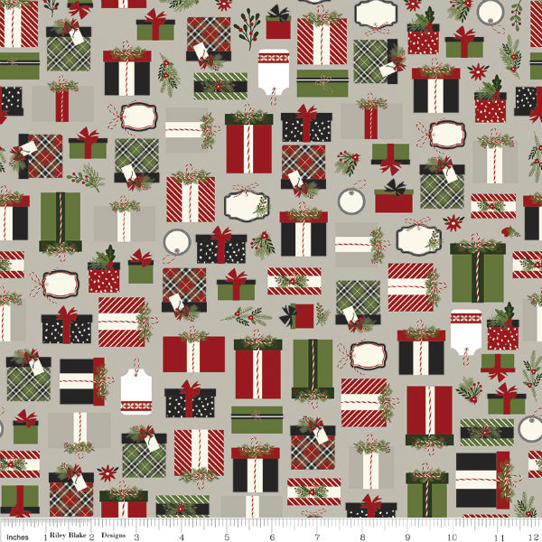 Riley Blake Christmas Delivery Presents Gray C7331-Gray