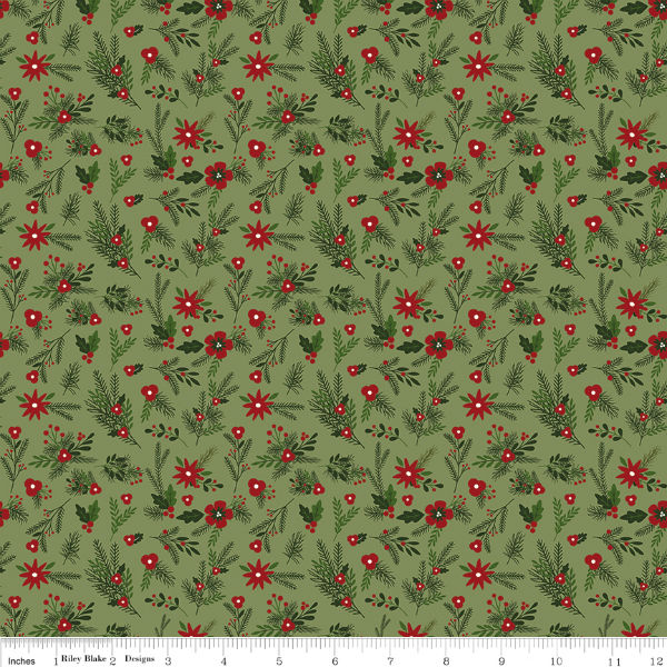 Riley Blake Christmas Delivery Floral Green C7332-Green
