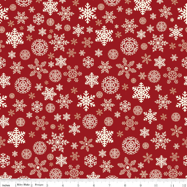 Riley Blake Christmas Delivery Snowflakes Red C7333-Red