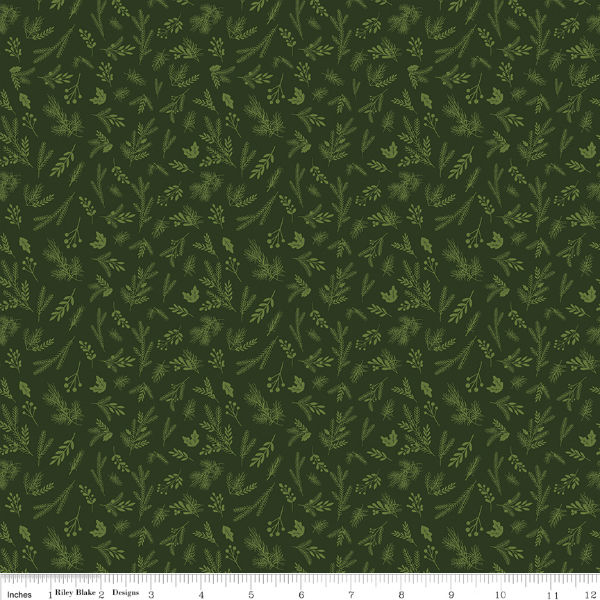 Riley Blake Christmas Delivery Sprigs Green C7334-Green