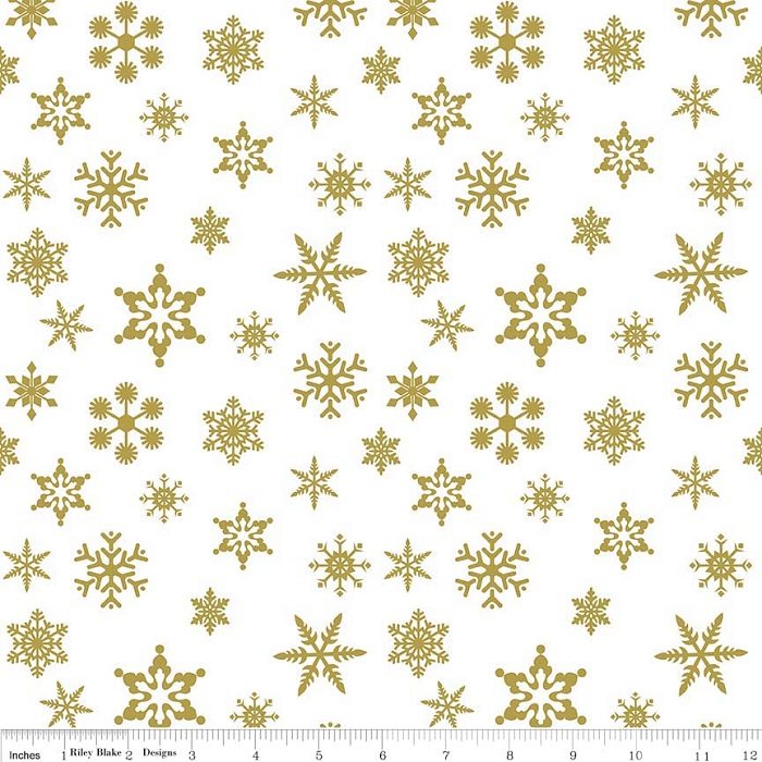 Riley Blake Sparkle Cotton Snowflake Sparkle SC566-Gold