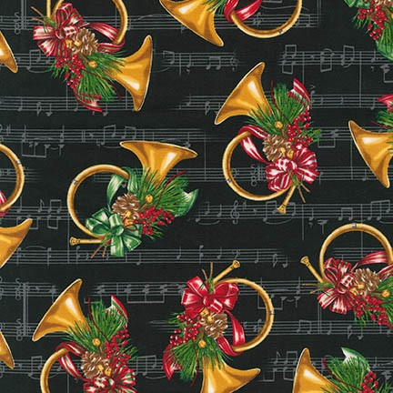 Robert Kaufman Holly Jolly Christmas 5 15806-2 Black