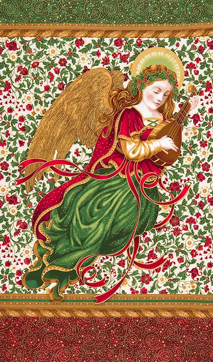 Robert Kaufman Holiday Flourish 9 15758-223 Holiday Angel Panel