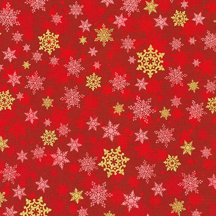 Robert Kaufman Winter's Grandeur Metallic 8 AXBM-19331-3 Red