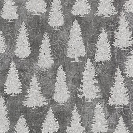 Robert Kaufman Winter's Grandeur Metallic 8 AXBM-19334-12 Grey