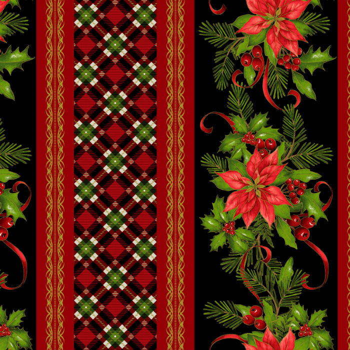Studio E Christmas Village 4249M-99 Poinsettia Border Stripe With Metallic