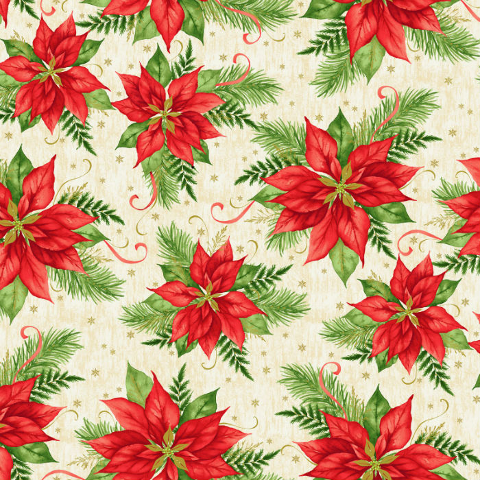 Studio E Christmas Village 4251M-44 Poinsettia With Metallic