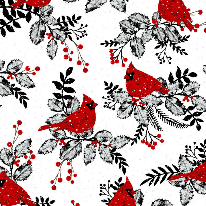 Studio E Midwinter Song 5136-8 Red Cardinals