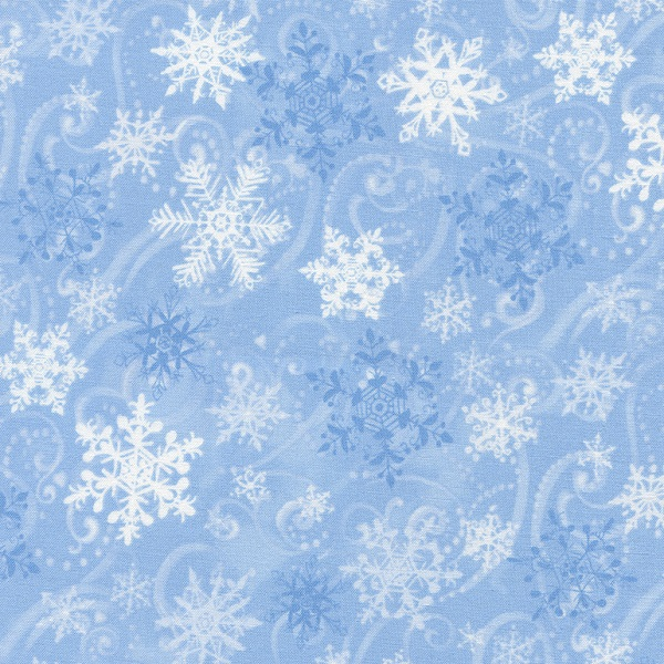 Timeless Treasures Winter Flurries Snowflakes C4264 Blue