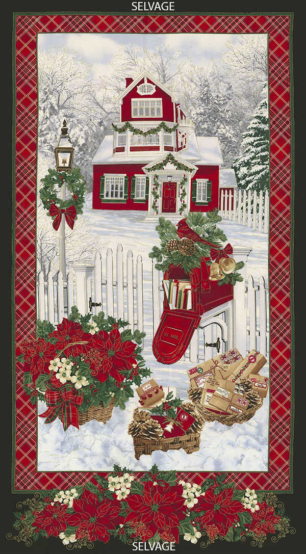 Timeless Treasures Christmas Morning Snowy Home Panel CM4987 Snow