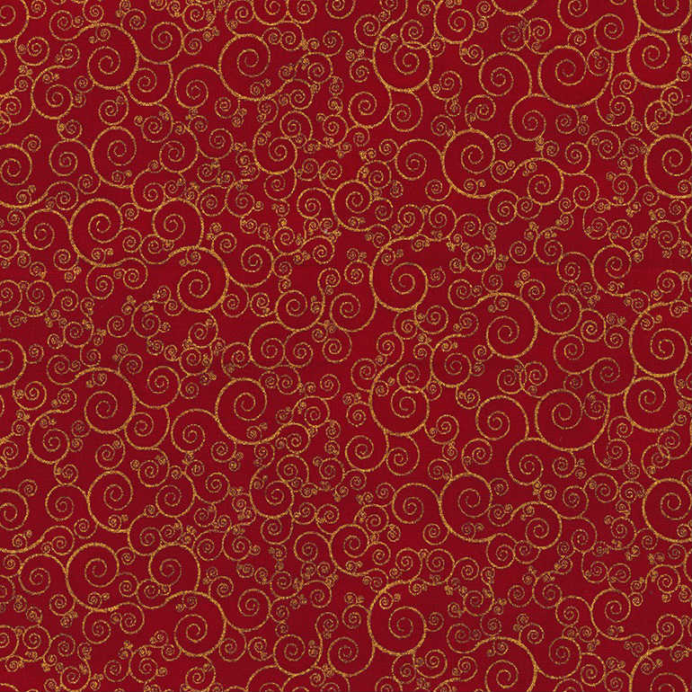 Timeless Treasures Christmas Morning Scroll CM4988 Red