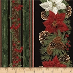 Timeless Treasures Country Christmas Metallic CM3288-BLK