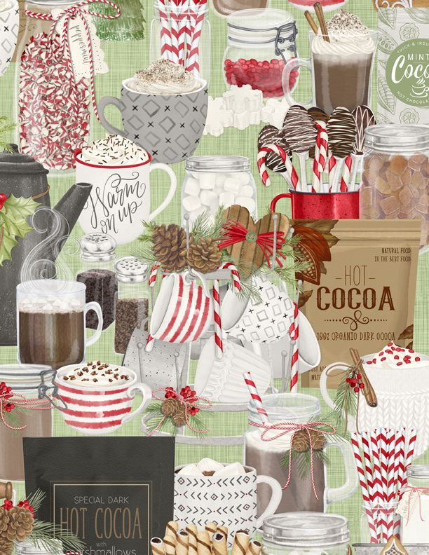 Wilmington Prints Hot Cocoa Bar Packed Cocoa Bar Green 3017-27598-713