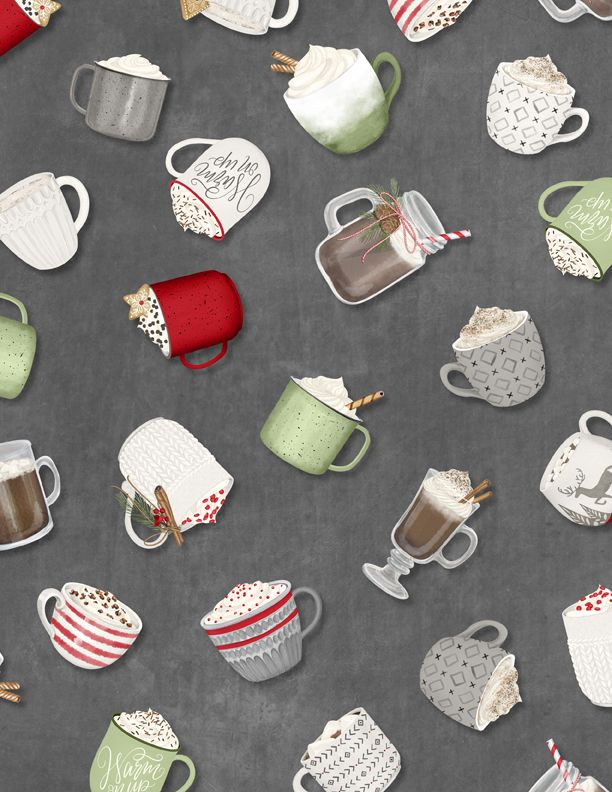 Wilmington Prints Hot Cocoa Bar Tossed Cups Dark Gray 3017-27599-997