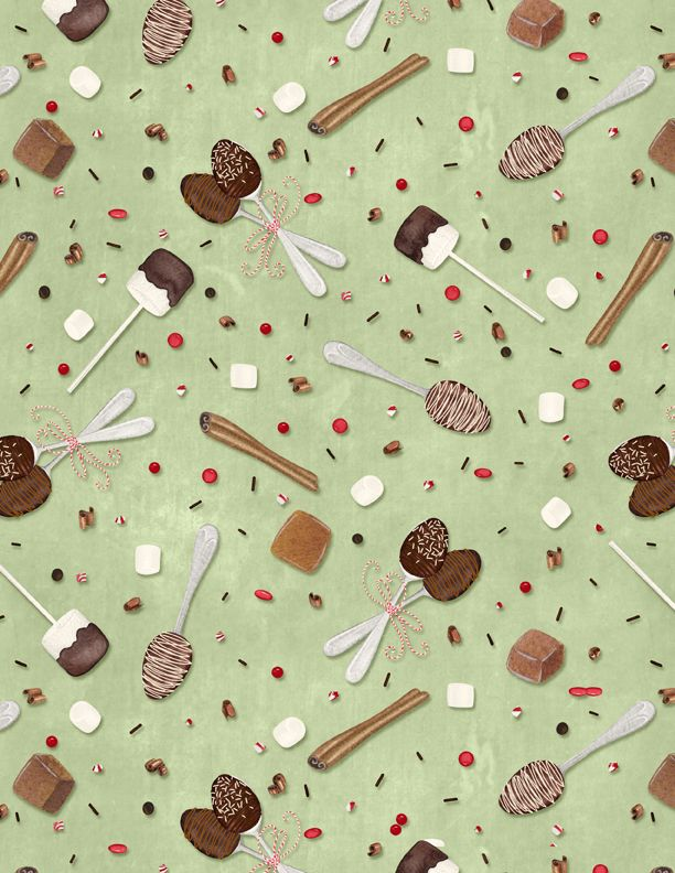 Wilmington Prints Hot Cocoa Bar Spoons & Sprinkles Lt. Green 3017-27600-723