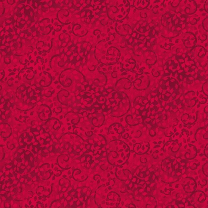 Wilmington Prints Essentials Leafy Scroll Bright Red 26035-302