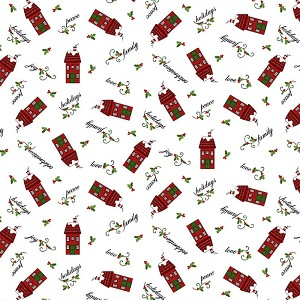 Henry Glass Holly Hill Christmas Tossed Houses 2482-18 White