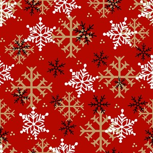 Henry Glass Timber Gnomies Snowflake 9268-88 Red