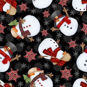 Henry Glass Timber Gnomies Tossed Snowmen 9272-99 Black
