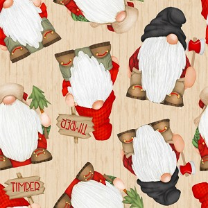 Henry Glass Timber Gnomies Gnomes on Woodgrain 9274-48 Beige