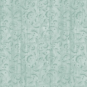 Benartex Festive Chickadees Washed Scroll Sea Mist 4212-52