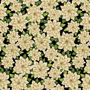 Kanvas Studio Ode To Joy Pretty Poinsettias White/Black 9667M-09