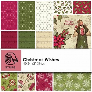 "Clothworks Christmas Wishes 2-1/2"" Strips Bundles ST0098"