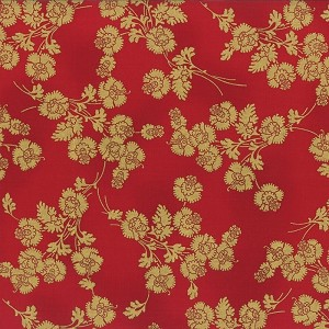 Hoffman Berries and Blooms Red/Gold M7453-5G