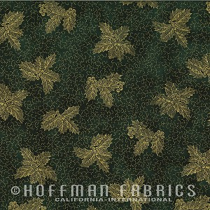 Hoffman Warm Wishes Metallic Holly/Scroll N7527-60G
