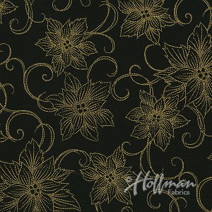 Hoffman Winter Blossom P7616-4G  Black/Gold