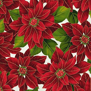 Hoffman Poinsettia Song Q7634-22G Ivory/Gold