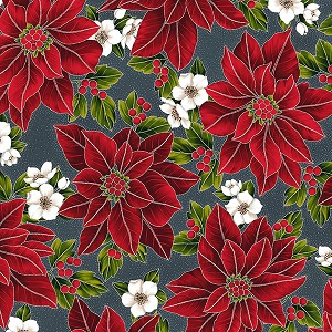 Hoffman Poinsettia Song Q7635-55S Charcoal/Silver