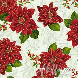 Hoffman Poinsettia Song Q7636-22G Ivory/Gold