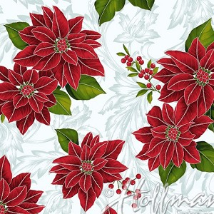 Hoffman Poinsettia Song Q7636-113S Frost/Silver