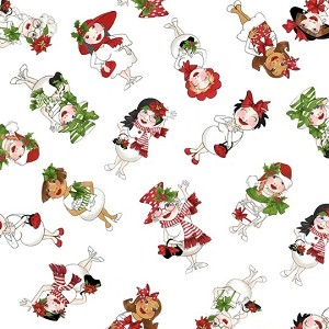 Loralie Designs Snow Ladies Snowball Ladies Tossed White LOD692-405