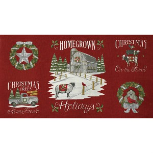 "Moda Homegrown Holidays Barn Red 24"" Panel 19940-13"