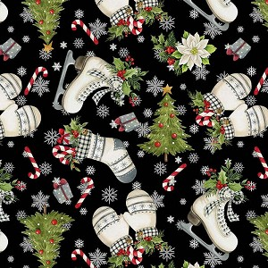 Northcott Farmhouse Christmas 23495-99  Winter Toss Black Multi