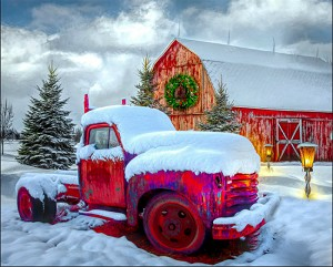 David Textiles Snowy Red Truck w/Red Barn & Wreath Panel 36in AL38169C1
