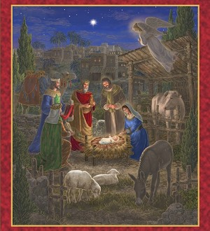 "Quilting Treasures Holy Gathering Nativity 34"" Panel metallic 24601-X Multi."
