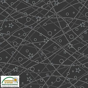 Stof Fabrics It's Snowflake Constellations - DARK GREY/SILVER  4597M-016