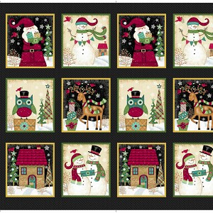 "Studio E Holly Jolly Christmas Blocks 24"" Panel 4747-99 Black"