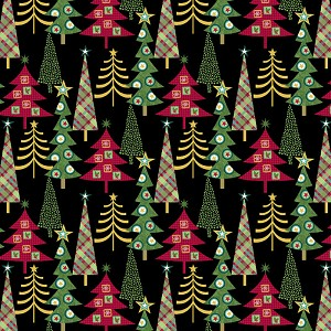 Studio E Holly Jolly Christmas 4752-96 Black