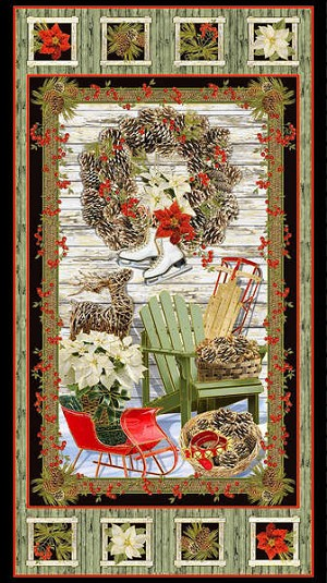 Timeless Treasures Country Christmas Metallic Panel