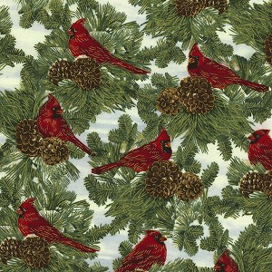 Timeless Treasures Christmas Morning Cardinals on Pine CM4989 Ivory