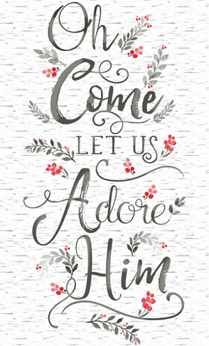 Timeless Treasures Oh, Come Let Us Adore Him GC-C7857-White Panel
